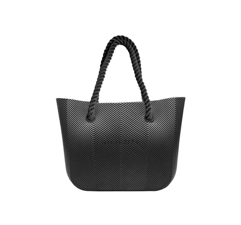 All Black Herringbone Tote
