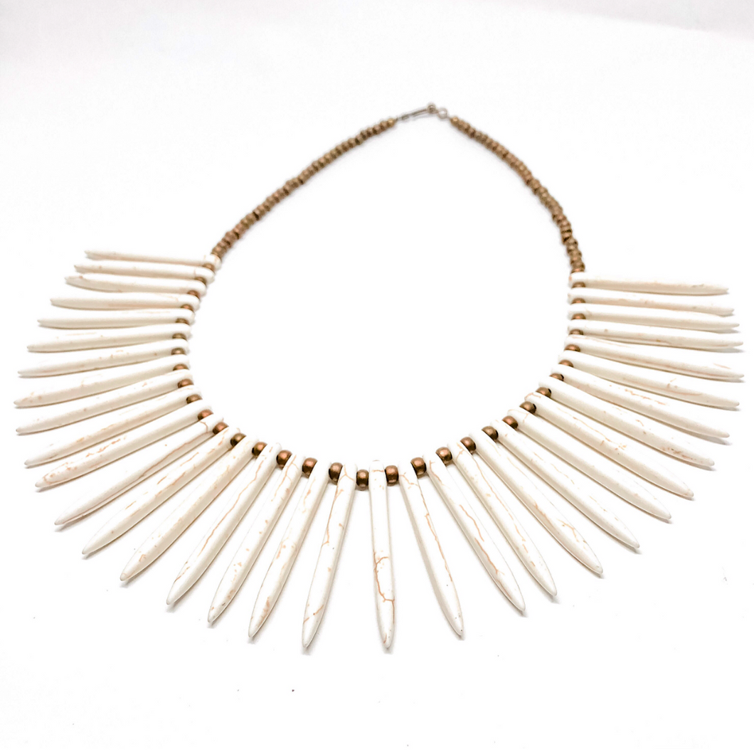 Ivory Howlite Spike Necklace