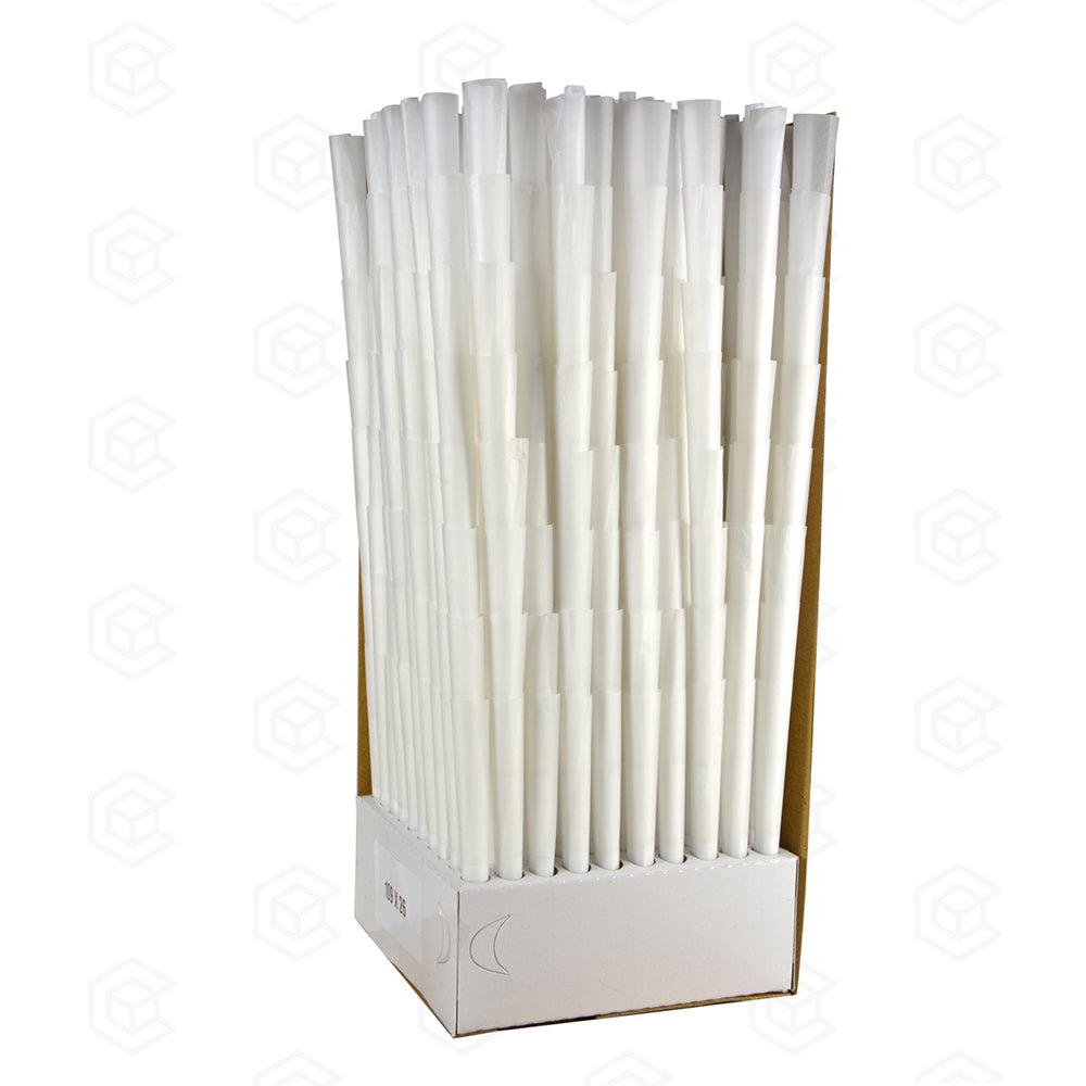 109mm x 26mm Pre-Rolled Cones - White Qty 800