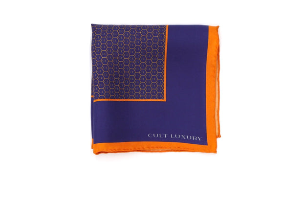 Orange blue silk square