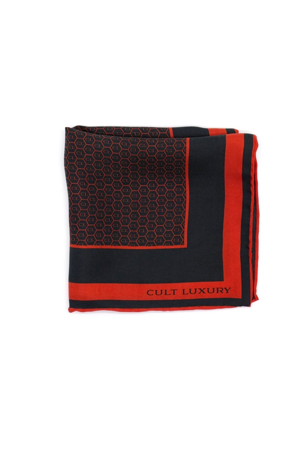 Red black pocket square
