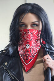 Women red silk bandana