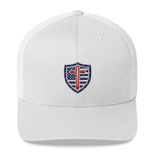 Patriot Crusader Mission Red White and Blue Trucker Cap