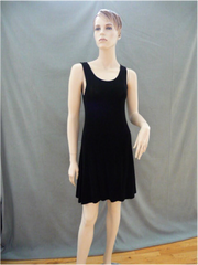 Black A Frame Semi-Sheer Stretch Dress