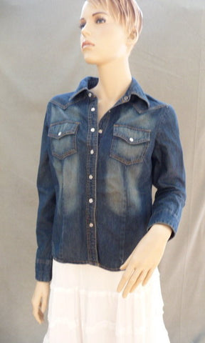 Vintage Rubbed Denim Wash Shirt