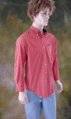Mens Vintage Red Plaid Dress Shirt