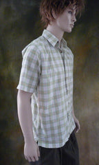 Mens Vintage Plaid Button Short Sleeve Shirt