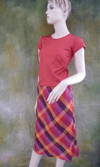 Vintage Plaid Esprit Color Block Skirt