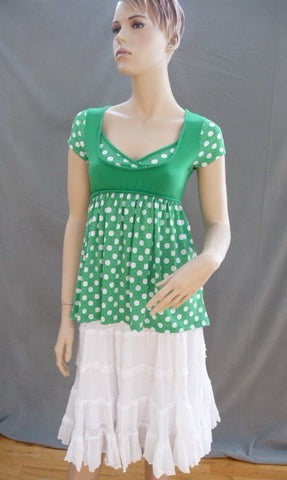 Vintage Green Apple Dot Tie Top