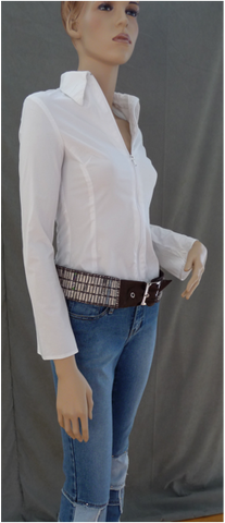Zip Front Cotton Blouse