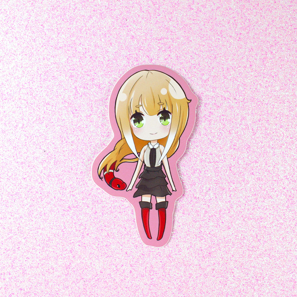cute gorgon anime girl sticker with red snake