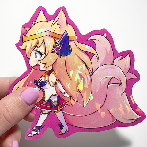 star guardian ahri holographic prism sticker in hand