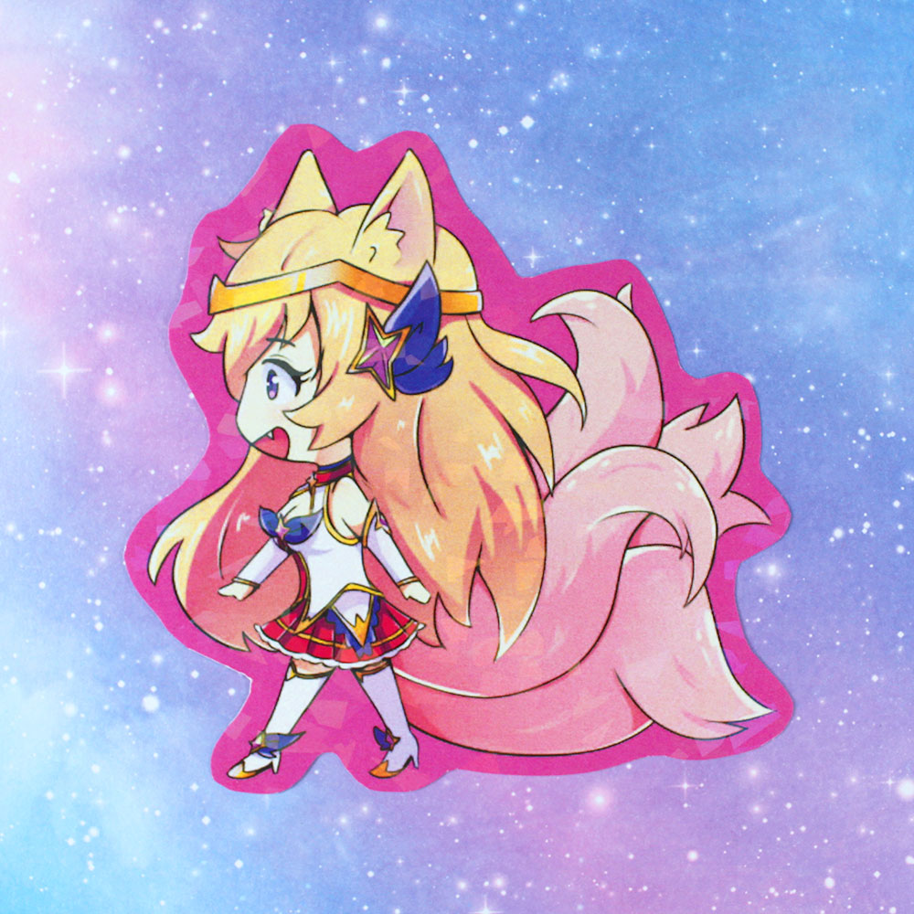 star guardian ahri holographic prism sticker