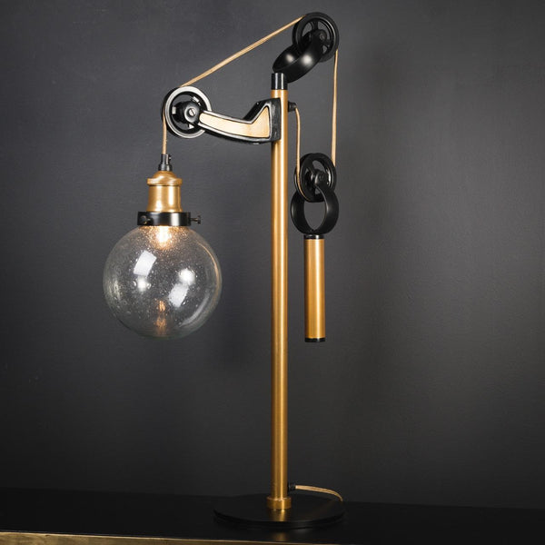 French Desk Lamp With Counterweight In Brass