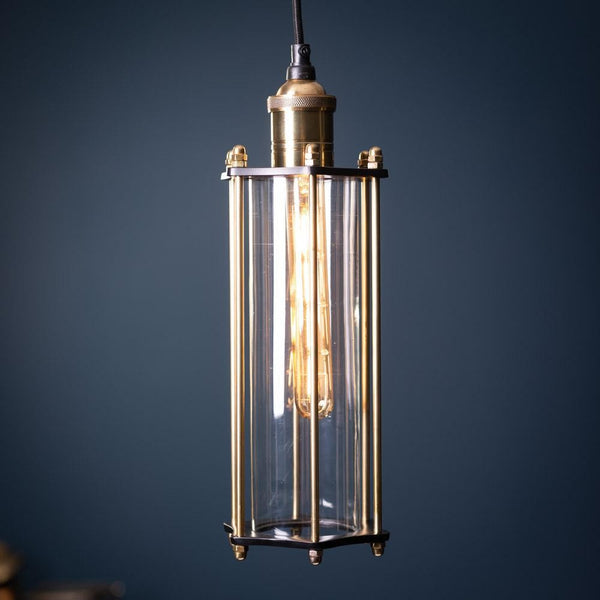 Small Chandelier With Glass And Brass Tube
