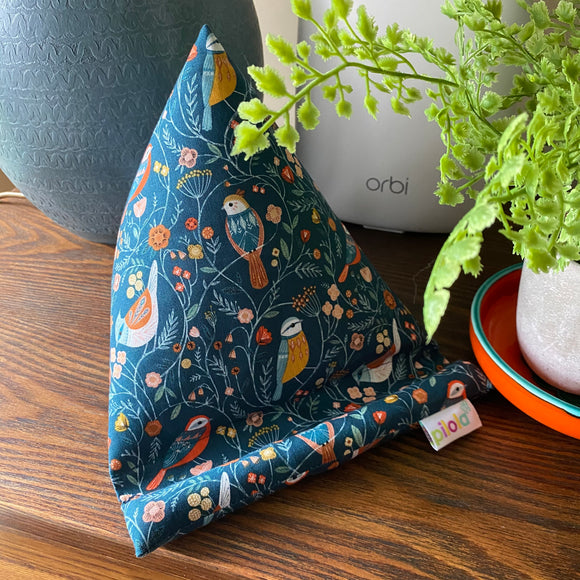Pilola Techcushion Teal Garden Birds Pattern Pillow Stand Holder Cushion