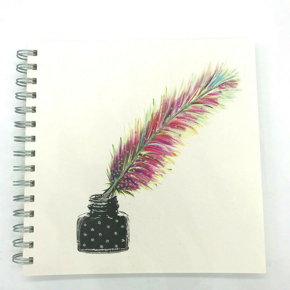 Square Feather Quill Ink Pot Luxury Plain Notebook Sketch Book by English Graphics