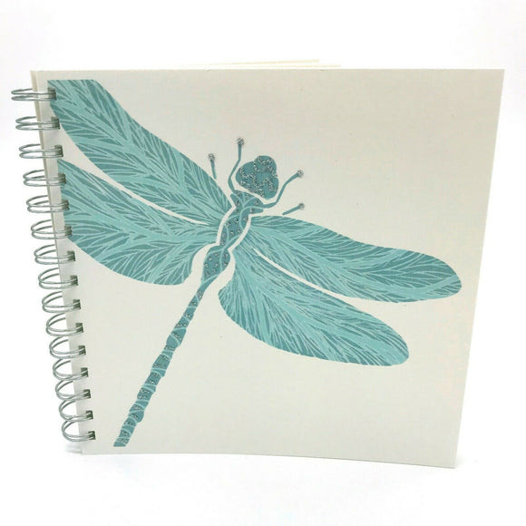 Square Blue Dragonfly Luxury Plain Notebook Sketch Book by English Graphics