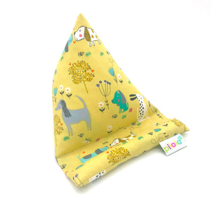 Pilola Techcushion Cute Dogs on Yellow Pillow Stand Holder Cushion
