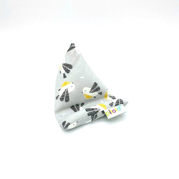 Pilola Techcushion Black White Yellow Birds on Grey Pillow Stand Holder Cushion