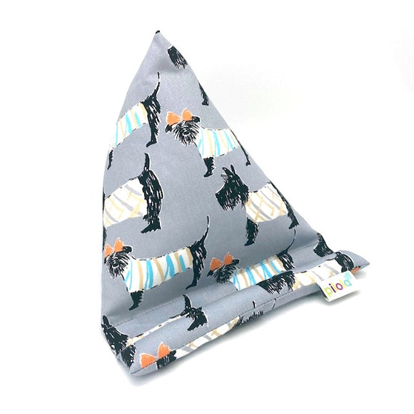 Pilola Techcushion Black Scotty Dogs on Grey Fabric Pillow Stand Holder Cushion