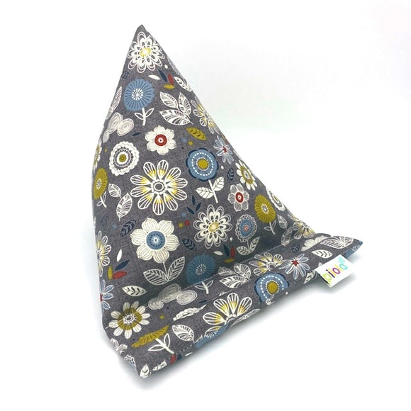 Pilola Techcushion Grey Multi Geometric Floral Print Pattern Pillow Stand Holder Cushion Rest