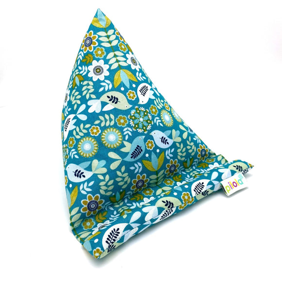 Pilola Techcushion Mustard Bird Flower Pattern Pillow Stand Holder Cushion