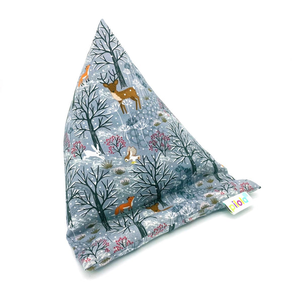 Pilola Techcushion Grey Snowy Woodland Pattern Pillow Stand Holder Cushion