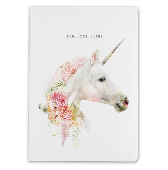 A5 Notebook Unicorn Wildlife Botanical Luxury Lined Notebook by Lola Designs