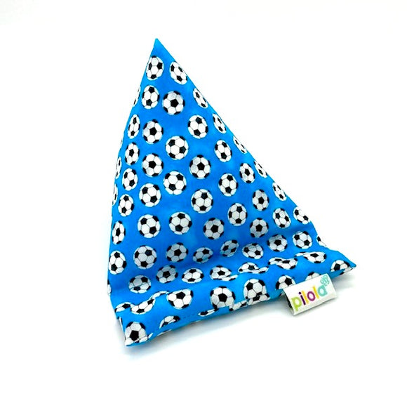 Pilola Techcushion Black and White Footballs on Blue Fabric Pillow Stand Holder Cushion