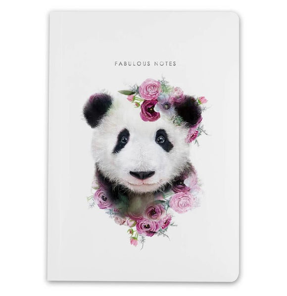 A5 Notebook Panda Wildlife Botanical Luxury Lined Notebook by Lola Designs