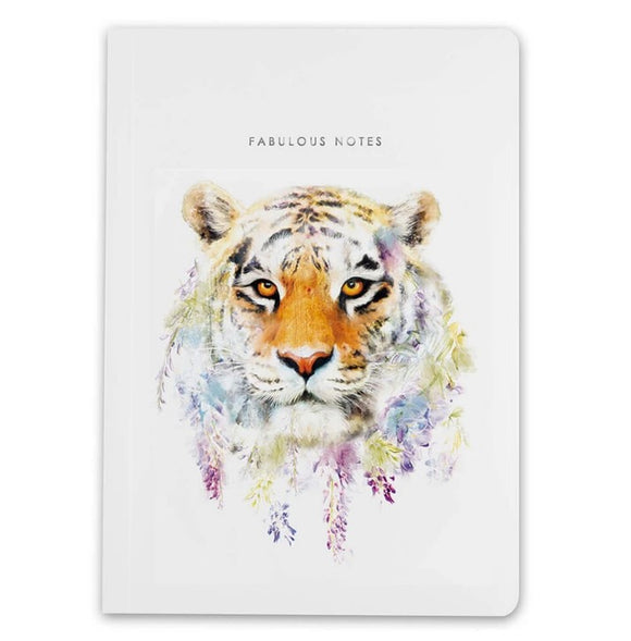 A5 Notebook Tiger Wildlife Botanical Luxury Lined Notebook by Lola Designs