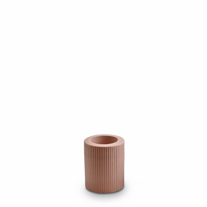 Marmoset Found Ribbed Infinity Candle Holder Ochre Medium