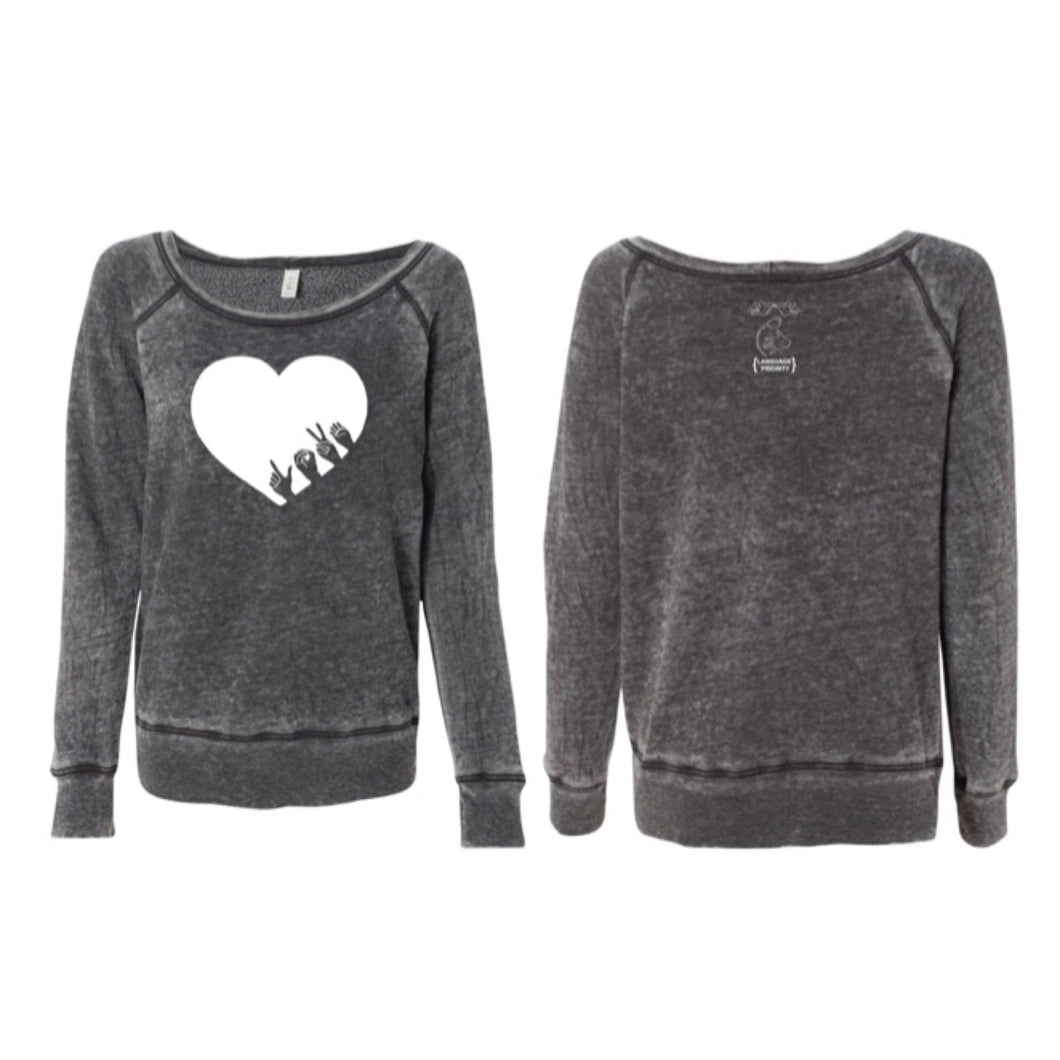 L-O-V-E Wide Neck Sweatshirt (Sponge Fleece)