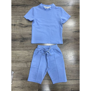 Candy blue tee and shorts