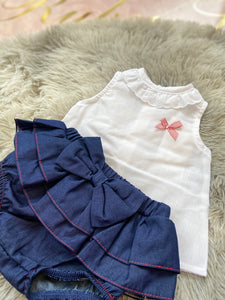 White and navy frill 2 pc 20735