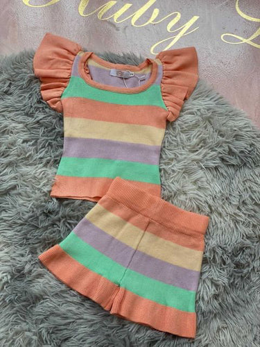 Rainbow striped short two piece XH908