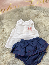 Load image into Gallery viewer, White and navy frill 2 pc 20735