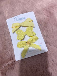 Luxury handmade 3 piece clip set (various colours)