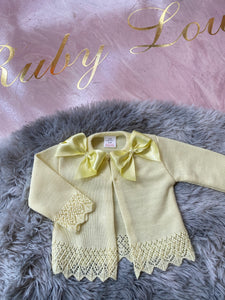 Lemon Cardigan with bows 300