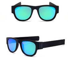 Load image into Gallery viewer, Polarized Teal and Black Slap Wrist Sunglasses