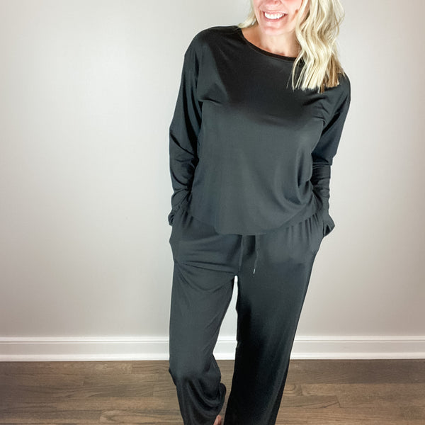 Monica Jersey Ribbed Loungewear-Sitting around the house in style has never felt better in these relaxed loose fit Monica Jersey Ribbed Loungewear sets with side slit detail. Needing to make a quick store run? Girl don't change - put those mules or sneakers on and head straight out of the door! Follow us on Facebook and shop our New Arrivals!-East Coast She, South Carolina