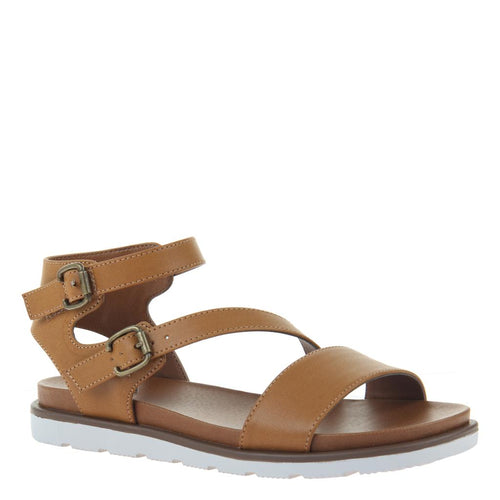 AS IF in NEW TAN Flat Sandals-AS IF in New Tan Flat Sandals. Introducing the cheekiest back sport sandal of the season. Lightweight EVA sport sole and playful asymmetrical straps. Women's flat sandal. Animal friendly vegan leathers Asymmetrical design Double buckle closure 1.18