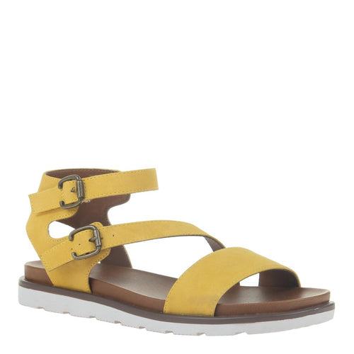 AS IF in YELLOW Flat Sandals-AS IF in Yellow Flat Sandals. Introducing the cheekiest back sport sandal of the season. Lightweight EVA sport sole and playful asymmetrical straps. Women's flat sandal. Animal friendly vegan leathers Asymmetrical design Double buckle closure 1.18