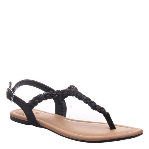CHARGE in BLACK Flat Sandals-CHARGE in BLACK Flat Sandals Take Charge of your life and your summer in this braided thong in black. Goddess inspired and feminine to the max, it's the perfect effortless combination to every relaxed, warm weather occasion. Women's flat sandal. Braided thong silhouette. Buckle closure. Sandal by Madeline.-East Coast She, South Carolina