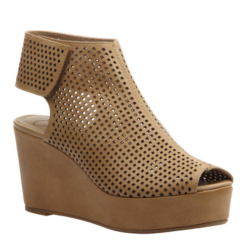 FLAVOR in BARK Wedge Sandals-Get the ultimate boost in the sky-high platform wedge, Flavor in bark. Sporty and feminine, this perforated design is a distinct, iconoclast style with luxe perforated materials and an easy velcro strap. Women's shootie. New Arrivals! Wedge by Madeline.-East Coast She, South Carolina