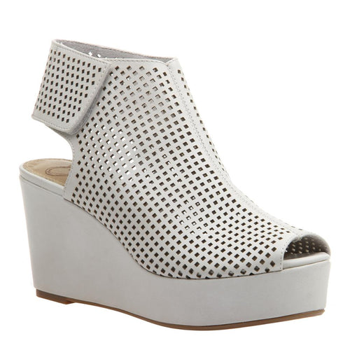 FLAVOR in CHAMOIS Wedge Sandals-Get the ultimate boost in the sky-high platform wedge, Flavor in chamois. Sporty and feminine, this perforated design is a distinct, iconoclast style with luxe perforated materials and an easy velcro strap. Women's shootie. New Arrivals! Wedge by Madeline.-East Coast She, South Carolina