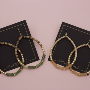 Olive and natural brown beaded teardrop hoop earrings