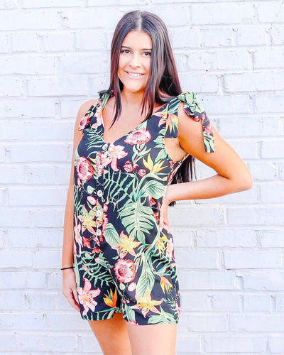 Black Tropics Romper-Find your perfect casual jumpsuits by searching our collection of women's jumpsuits online today! Shop trendy dresses, jumpsuits, tops, leggings and more. New items added daily. Dresses, jumpsuits, tops, leggings and more for girls.-East Coast She, South Carolina