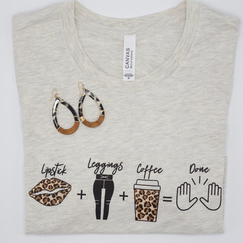 Lipstick + Leggings + Coffee Tee-Find your perfect casual tops by searching our collection of women's tops online today! Shop trendy tanks, blouses, tees, bodysuits and more. New items added daily. Tops for women.-East Coast She, South Carolina